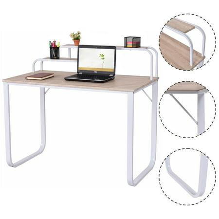 Costway Computer Desk W/2-Tier Shelves Home Office Furniture Laptop Writing Study Desk