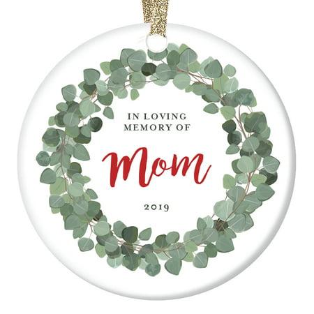 Keepsake Loss of Mom Memorial Christmas Ornament 2019 Charming Flora Remembrance In Loving Memory Sympathy Life Celebration Gift Eucalyptus Wreath & Handwritten Script 3