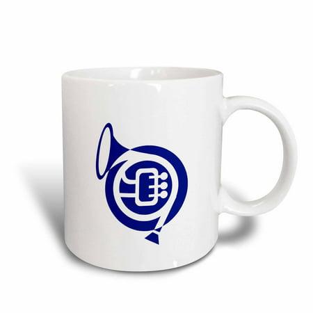 3dRose French horn stylized simple blue, Ceramic Mug, 15-ounce
