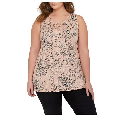 e1e18bfbaffa5 Addition Elle Michel Studio - Plus Paisley Cut-Out Neckline Swing Top -  Walmart.com