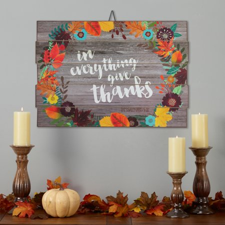In Everything, Give Thanks Wood Sign - 23 X 16 -