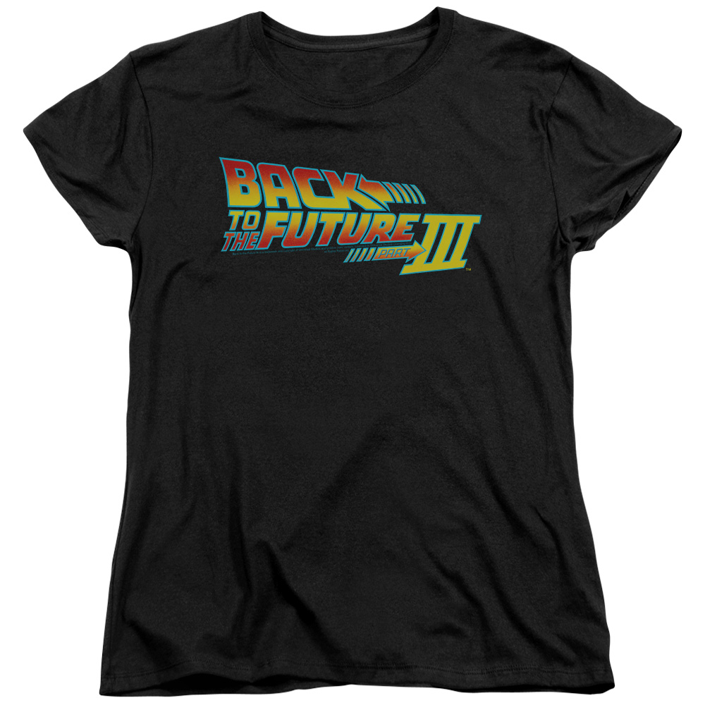 Back To The Future Iii Logo Womens Short Sleeve Shirt