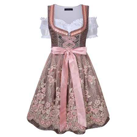 Bavarian Women's Midi Dirndl Dress 3-Pieces+Apron+Blouse