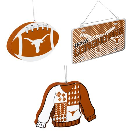 NCAA Texas Longhorns Foam Christmas Ball Ornament Metal License Plate Ugly Sweater Bundle 3 Pack By Forever Collectibles