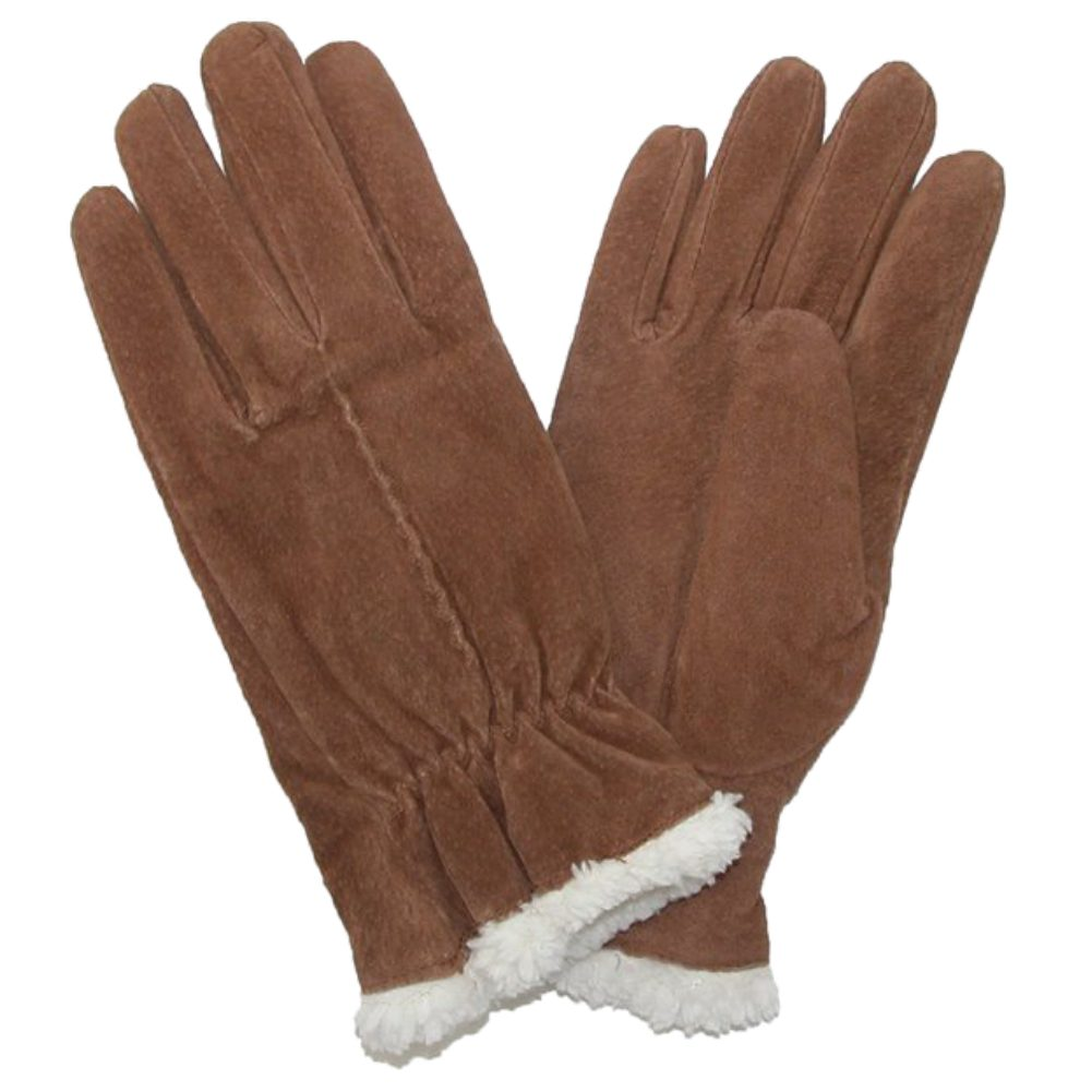 Isotoner Womens Luggage Brown Suede Gloves with Sherpasoft Lining