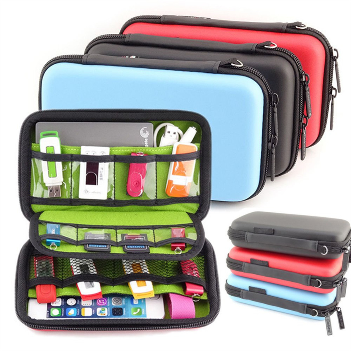 Waterproof Travel Carrying Case Storage Protection Pouch Bag  Shockproof Protective Pouch Box for USB Flash Drive
