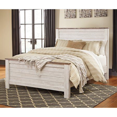Willowtown Whitewash Full Panel Headboard