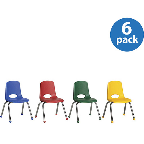 """Stackable 14"""" School Chairs, Assorted Colors, Set of 6"""