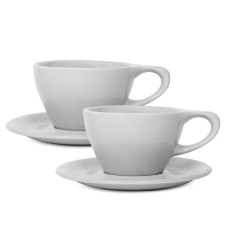 notNeutral LINO 8 oz Porcelain Latte Cups with Saucers | for Specialty Coffee Drinks, Latte, Cappuccino and Tea | for Personal, Restaurant, Commercial Use | Set of