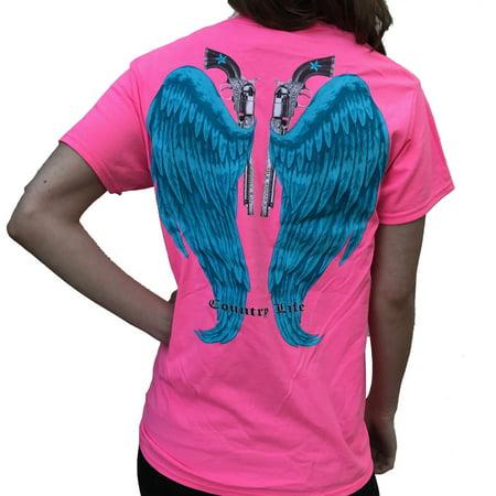 Country Life Guns and Angel Wings Pink and Blue Short Sleeve Shirt (Medium)