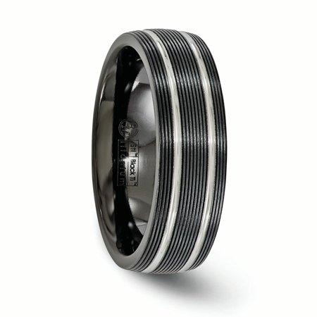 Edward Mirell Titanium Black Ti Textured Lines 7mm Band Size 6.5 - image 3 de 4
