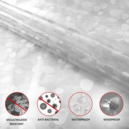 Waterproof Thicken Translucent 3D Cobblestone Pattern Shower Curtain with Hooks - image 1 de 5