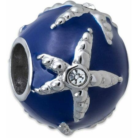 Stainless Steel Starfish Charm with Crystal (Nautical Starfish Charms)