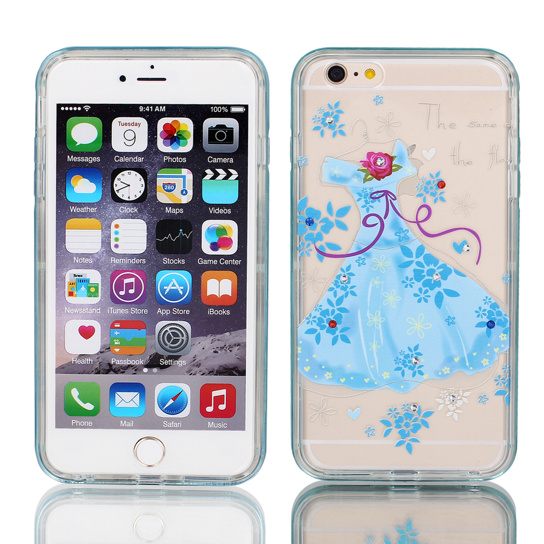 Soft Plastic Dress Print Case Cover w Bumper Frame for iPhone 6 Plus 5.5  Blue