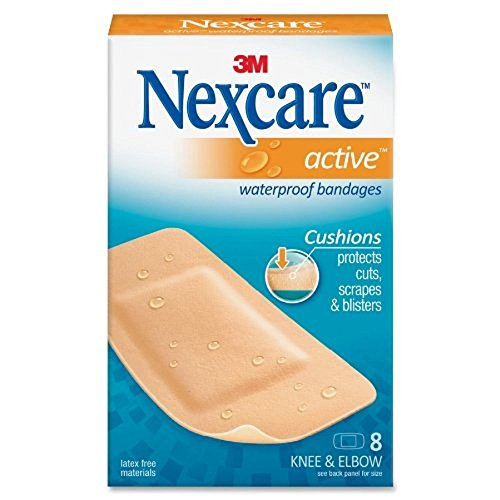 Nexcare Active Waterproof Bandages With Cushions to Protect 8 Knee and Elbow Bandages (Pack of 5)