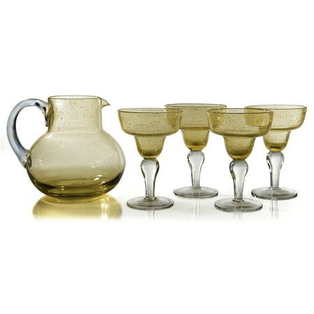 Artland Iris Seeded Citrine 5 Piece Hand Blown Glass 2.8 Quart Pitcher and Margarita Glass Set