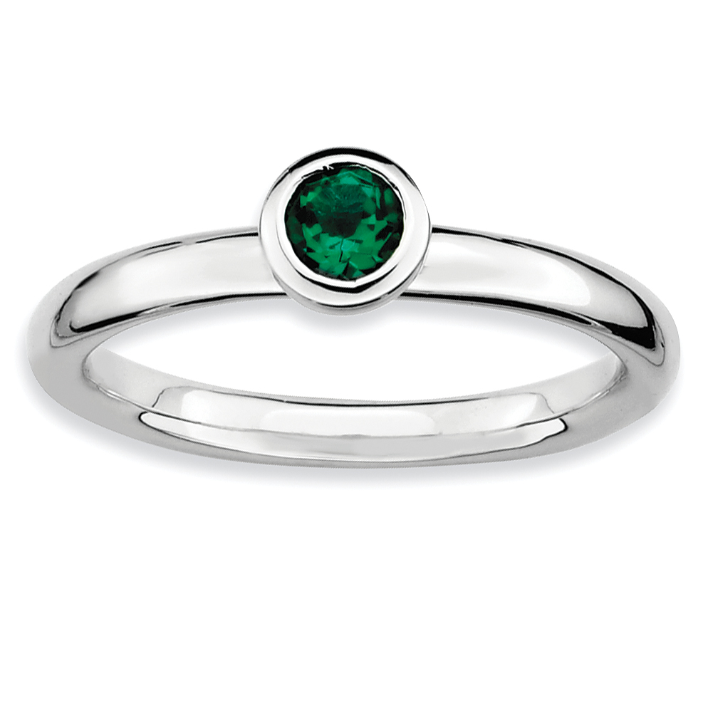 Roy Rose Jewelry Sterling Silver Stackable Expressions Low 4mm Round Created Emerald Ring ~ Size 6
