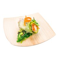 """Midori Square Natural Palm Leaf Large Plate - Large - 8"""" x 8"""" x 3/4"""" - 100 count box"""