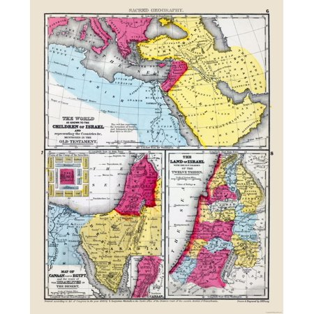 International Map - Sacred Geography - Middle East - Mitchell 1844 - 23 x  28 45