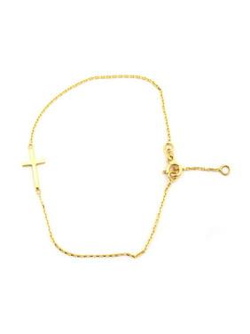 """14k Yellow Gold Delicate Sideways Cross Chain Bracelet, 7"""" - 7.5"""""""