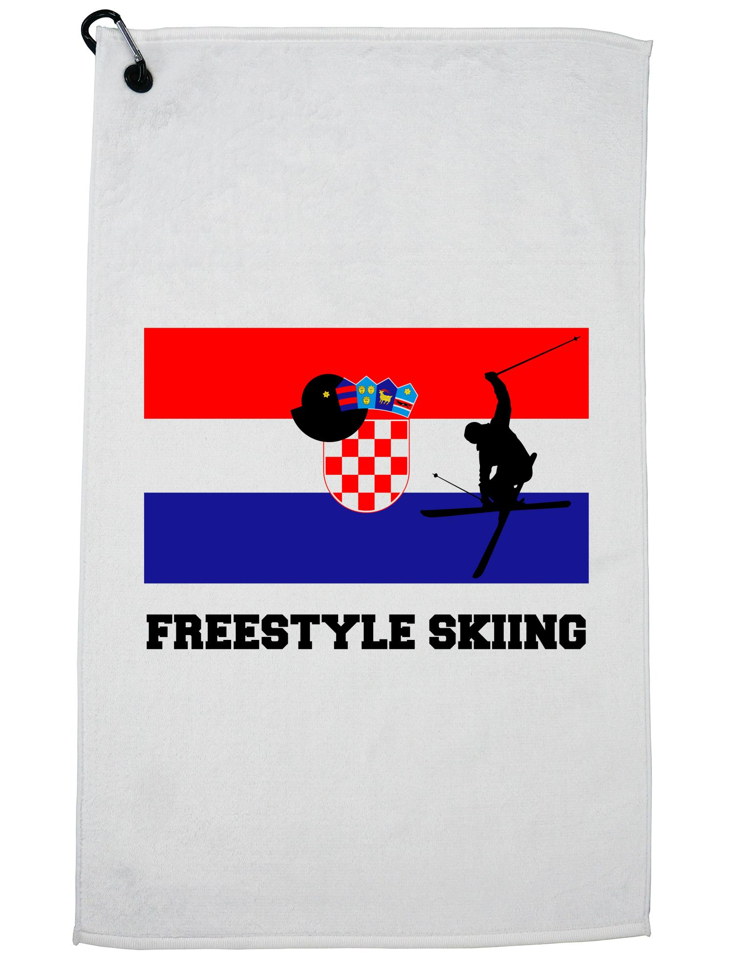 Croatia Olympic Freestyle Skiing Flag Silhouette Golf Towel with Carabiner Clip by Hollywood Thread
