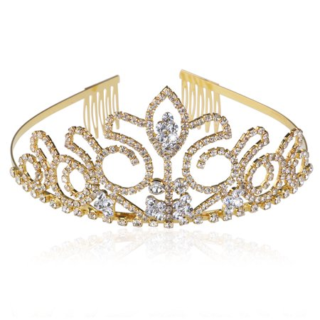 Wedding Bridal Prom Shining Crystal Rhinestones Crown Tiara Headband (Gold) (Prom Crowns Men)