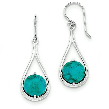 Teardrop Cabochon Turquoise Dangle Earrings in Sterling Silver