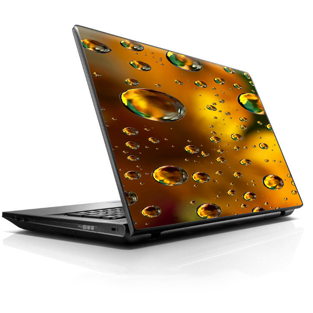 """Laptop Notebook Universal Skin Decal Fits 13.3"""" To 16"""" / Gold Water Drops Droplets"""