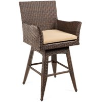 Best Choice Products Outdoor Brown Wicker Swivel Bar Stool w/ Cushion