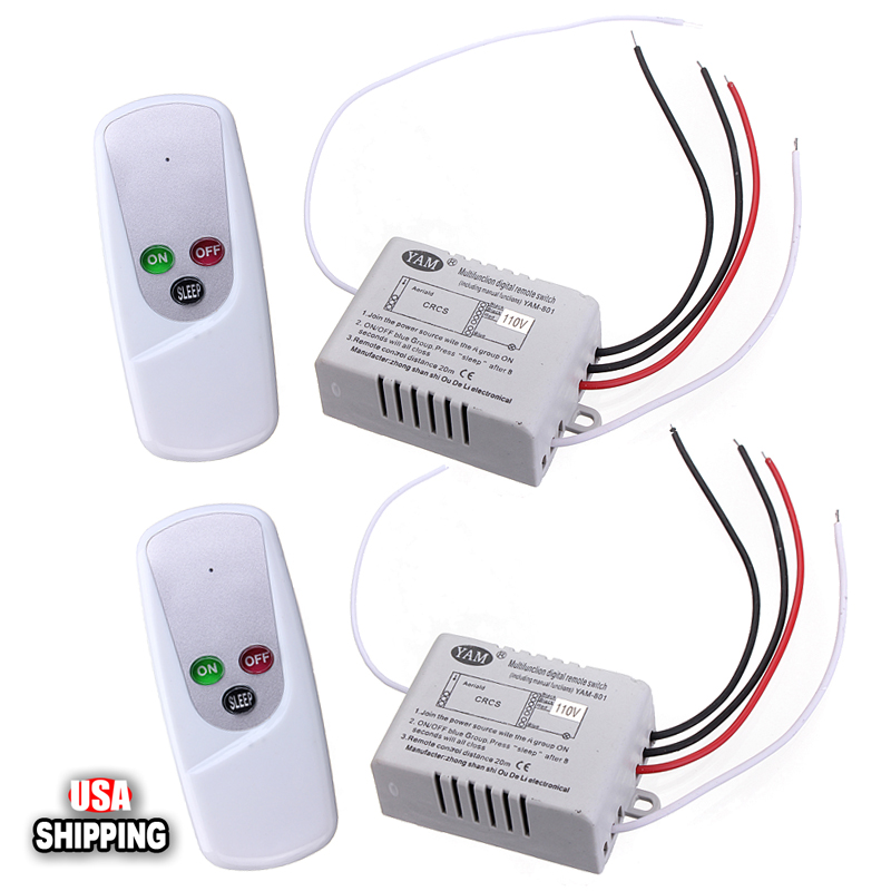 GLIME 2x Wireless 1-Way ON/OFF 110V Light Lamp Digital Wall Control Remote Switch US