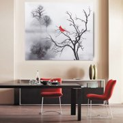 Red Cardinal Bird Home Decor Wall Art Photo Print B W Bedroom Bathroom Picture