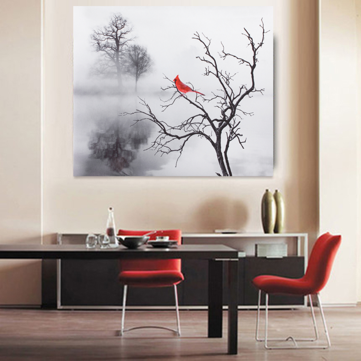 Red Cardinal Bird Home Decor Wall Art Photo Print Bu0026W Bedroom Bathroom  Picture (no Frame