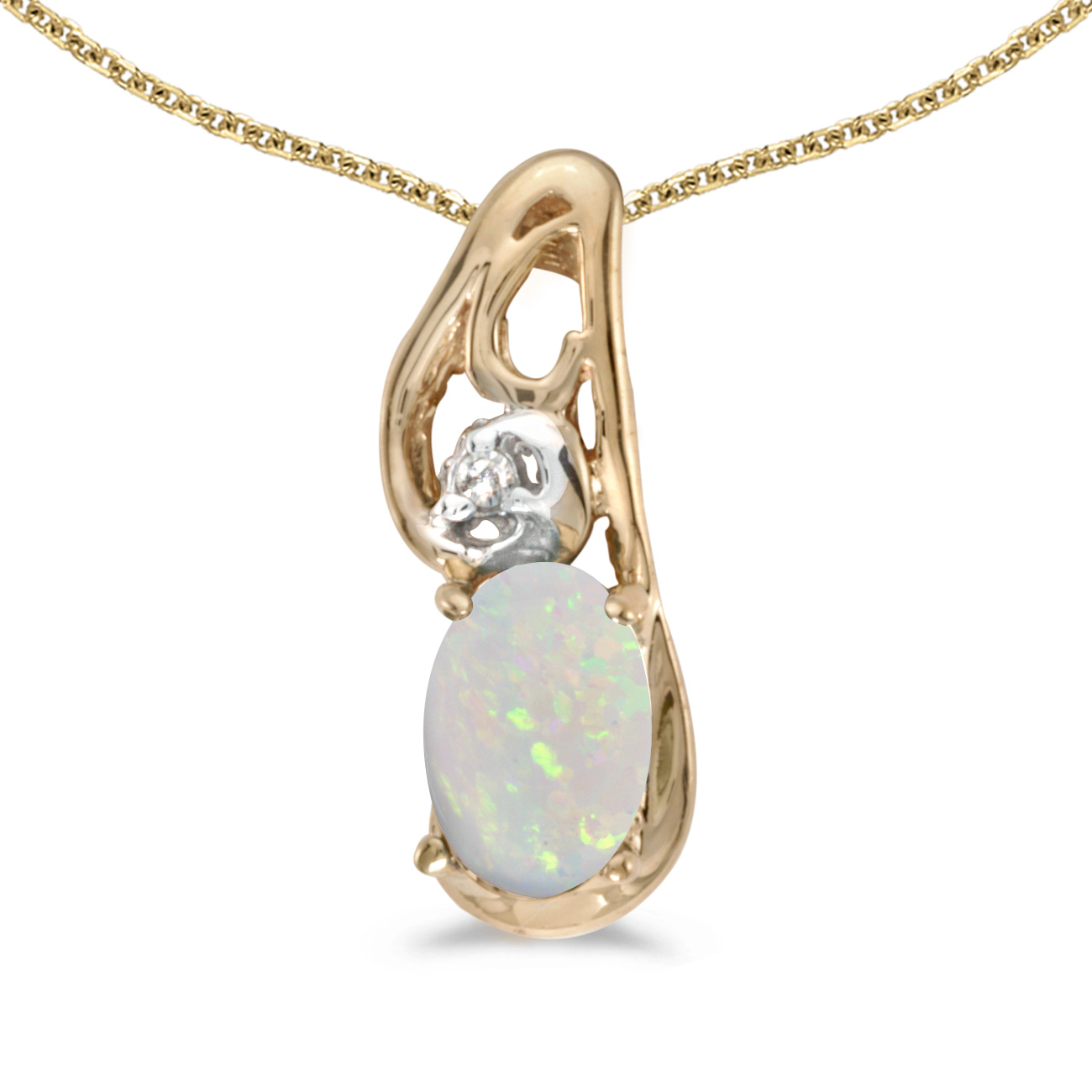 "10k Yellow Gold Oval Opal And Diamond Pendant with 18"" Chain"