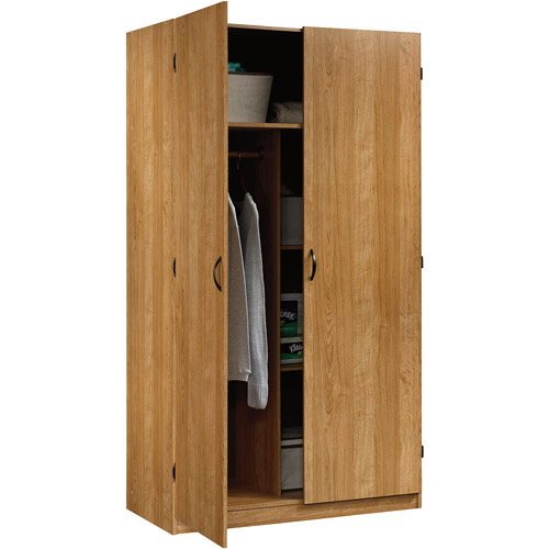 Beau Sauder Beginnings Wardrobe And Storage Cabinet With Adjustable Shelves,  Highland Oak