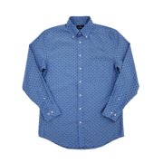 Mens Blue Dobby Executive Pinpoint Oxford Fitted Button-Down Shirt