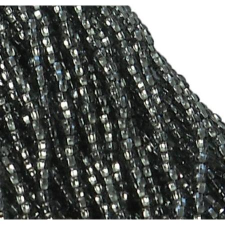 Czech 11/0 Glass Seed, Loose Beads, 1-6 String Hank Preciosa Silver Lined Black Diamond