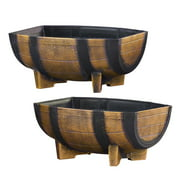 Rustic Half Barrel Planters - Set of 2, Weather Resistant Decorative Accent with Removable Drain Screen