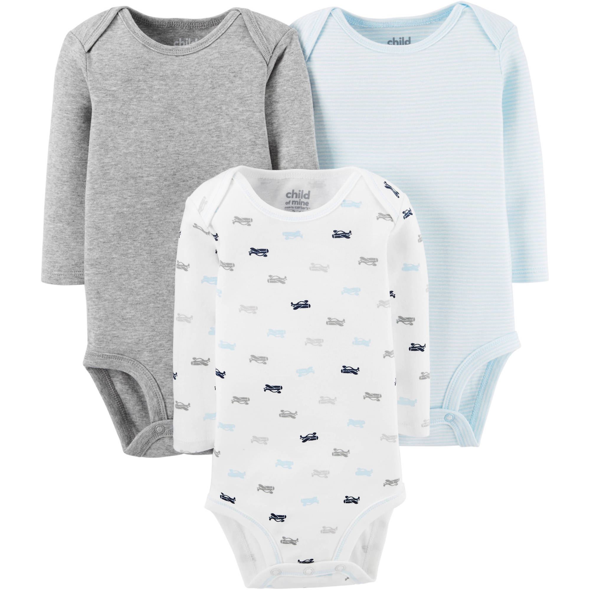 Child Of Mine By Carter's Newborn Baby Boy Long Sleeve Bodysuits, 3-Pack