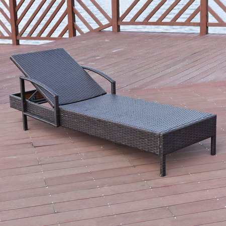 Rattan Wicker Chaise Lounge Chair Outdoor Couch Patio