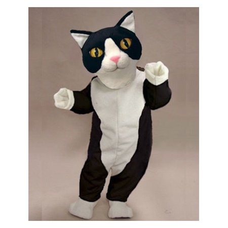 Adult Black and White Cat Mascot Costume - Size 5'2
