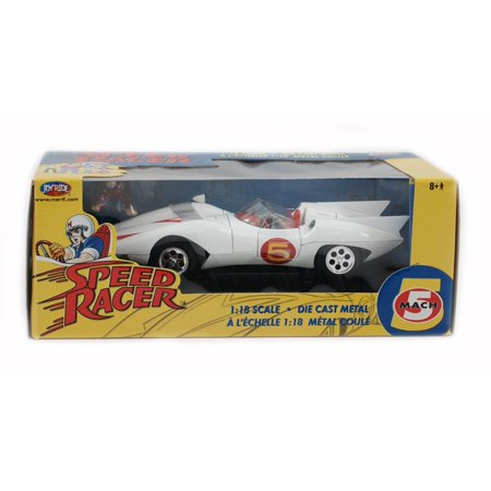 Mach 5 Speed Racer Car White Classic TV Cartoon Anime Vehicle Diecast 1:18 Die-Cast Racecar Replica Toy Merchandise Collectible Joyride Ertl