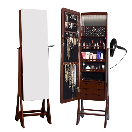 Living Essentials Jewelry Cabinet Organizer 15 LEDs Full Length Mirrored Standing Storage Armoire with Hairdryer Holder (Donna Brown) ()