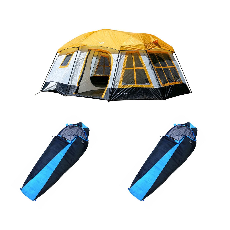 Tahoe Gear Ozark 16-Person Cabin Tent + Slumberjack Mummy Sleeping Bag (2 Pack)