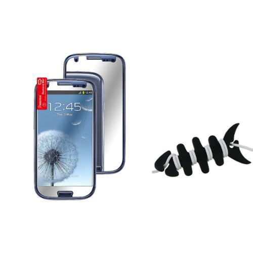 Insten 3x Mirror LCD Screen Protector Guard For Samsung Galaxy S III S3 i9300+Fishbone Wrap