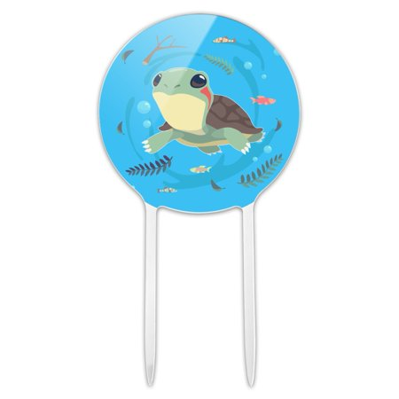 Turtle Cake Decorations (Acrylic Cute Turtle Swimming with Fish Cake Topper Party Decoration for Wedding Anniversary Birthday)