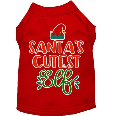 Santa's Cutest Elf Screen Print Dog Shirt Red Sm