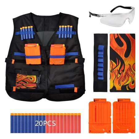 Tactical Vest Kit for Kids Toy Guns N-Strike Elite Series with 20 Pcs Refill Darts, 2 Reload Clips,1 Face Mask,1 Wristband and Protective Goggles - Kids Toy Guns