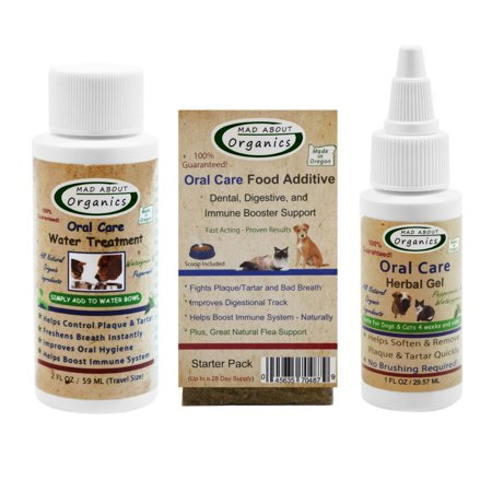 - Mad About Organics All Natural Dog & Cat Oral Care Dental Plaque Remover Starter Kit