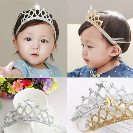 Gold Girl Baby Hair Accessories Princess Tiaras Crowns Headband Elastic Birthday (Gold Princess Crown)