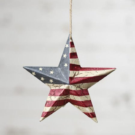 Darice Americana 4th July Decor - USA Flag Crackled Barn Star - SM 5.75 4pk by Unknown